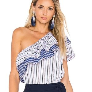 Parker Mary Asymmetrical Ruffle One Shoulder Top